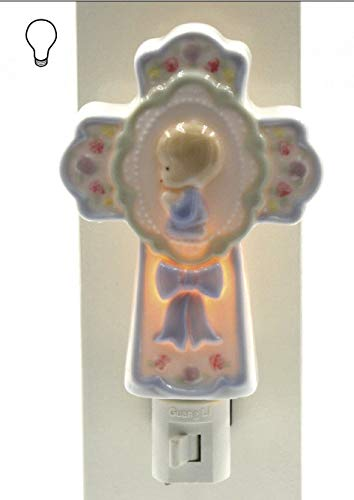 Praying Boy Porcelain - Fine Porcelain Inspirational Praying Boy Cross Plug in Night Light Figurine, 6.5