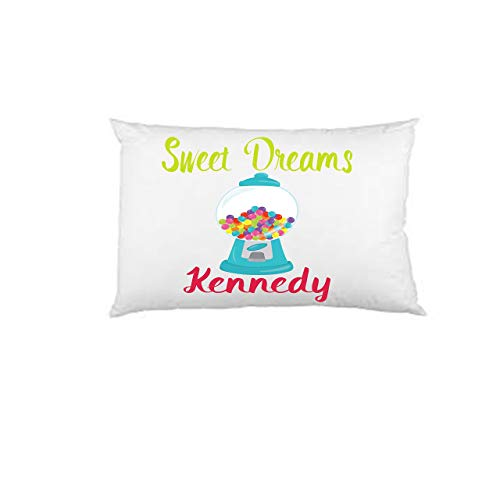 (Personalized Children's Pillow Case, Sweet Dreams gumball machine pillowcase, Candy pillowcase, Custom Printed, Unisex Pillowcase, Birthday, Kid's Bedroom, Toddler Room, Baby Room, Teen bedroom)