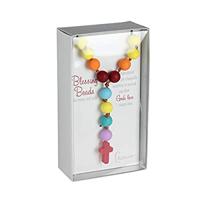 """17.5"""" Rainbow Colored Chewable Mommy and Me Rosary Blessing Beads Necklace : Baby"""