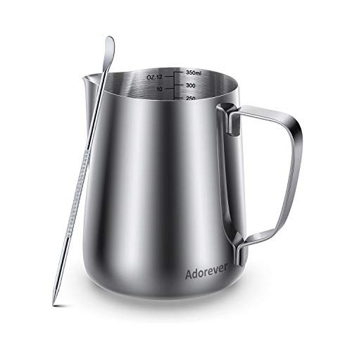 Milk Frothing Pitcher 350ml/600ml/900ml (12oz/20oz/32oz) Steaming Pitchers Stainless Steel Milk/Coffee/Cappuccino/Latte Art Barista Steam Pitchers Milk Jug Cup with Decorating Art Pen, Latte Arts