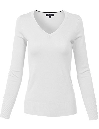 Slim Fit Basic V Neck Sleeve Button Thin Soft Classic Sweaters 139 white X Large