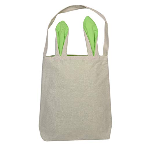 EH-LIFE Easter Bunny Bag Easter Basket Dual Layer Rabbit Ears Carrying Eggs Gifts Green