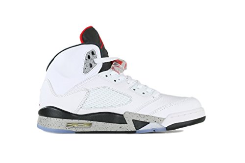 Jordan Men's Air Jordan 5 Retro, WHITE/UNIVERSITY RED-BLACK-MATTE SILVER, 10.5M US