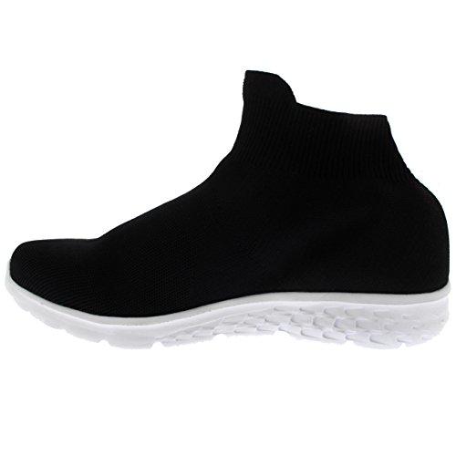 Wollen, Lichtgewicht Sport-wandel-slip Dames-sok-sneaker Blackwhite