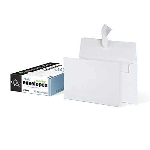 Quality Park 4 x 6 Photo Envelopes, Self-Sealing, for Photos, Invitations and Announcements, 24 lb White Wove, 4-1/2 x 6-1/4 Inches, 50 per Box (QUA10742) (6 Park Square)
