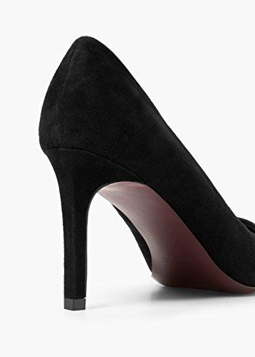 MANGO Ladies Stiletto Shoes Anouk C Genuine Suede Leather Court Shoes Black 0EFTYyNa