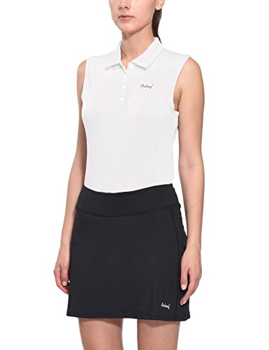 (Baleaf Women's Golf Sleeveless Polo Shirts Quick Dry UPF 50+ White Size L )