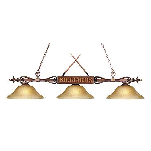 Classics Designer Wood (Elk 194-Wd-G6 Designer Classics 3-Light Billiard Light, 9-Inch, Wood Patina With Amber Gratina Glass Shades)