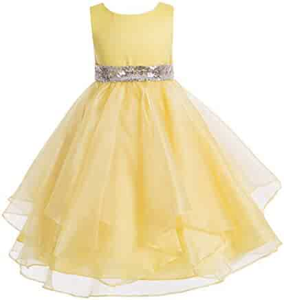 cce706f331b ekidsbridal Asymmetric Ruffled Organza Sequin Toddler Flower Girl Dress  Pageant Gown 012S