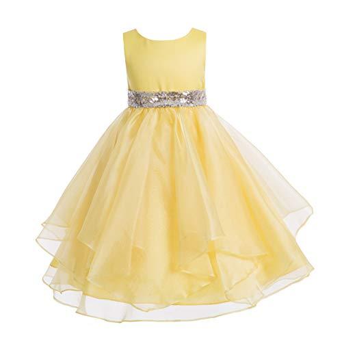 909f7132df3 ekidsbridal Asymmetric Ruffled Organza Sequin Flower Girl Dress Toddler  Girl Dresses 012S 6