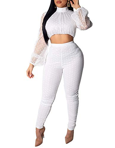 Ophestin Women Sexy Sheer Mesh Dot Bodycon 2 Piece Outfits Long Puff Sleeve Crop Top Long Pants Set Clubwear White L