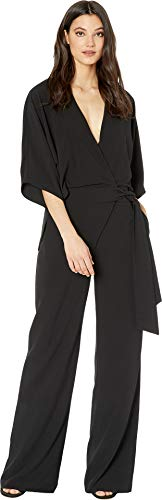 Halston Heritage Women's Wide Short Sleeve Wrap Front Jumpsuit w/Waist Tie Black 1 8