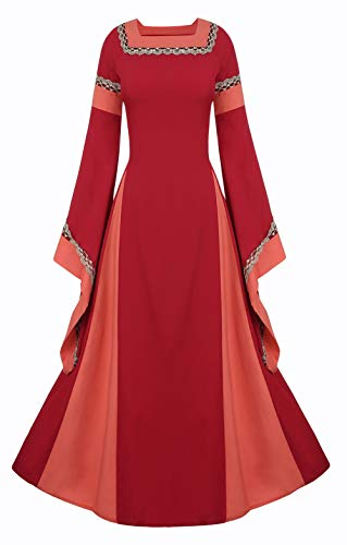 LETSQK Retro Gothic Medieval Dresses Irish Victorian Halloween Costume Gown Red XL]()