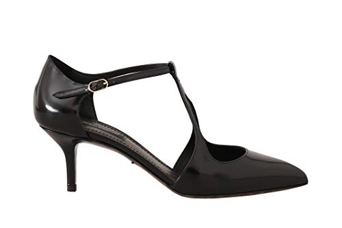 Dolce & Gabbana Black Leather T-Strap Sandals