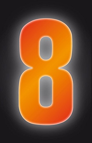 Self Adhesive Wheelie Bin Numbers 17cm - 8 - High Visibility Orange Classic Sign & Design