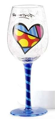 Romero Britto Polka Dot Heart with Blue Striped Stem and Base Wine Glass