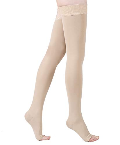 KEKING Thigh High Compression Stockings Sleeves, Firm Support 20-30mmHg with Anti-Slip Silicone Band. Open Toe Graduated Compression Socks, Pregnancy, Sports, Flight Travel, Beige S