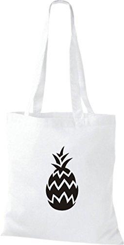 ShirtInStyle Bolso de tela Bolsa de algodón Tu Favorita frutas y hortalizas Piña - fucsia, 38 cm x 42 cm Blanco