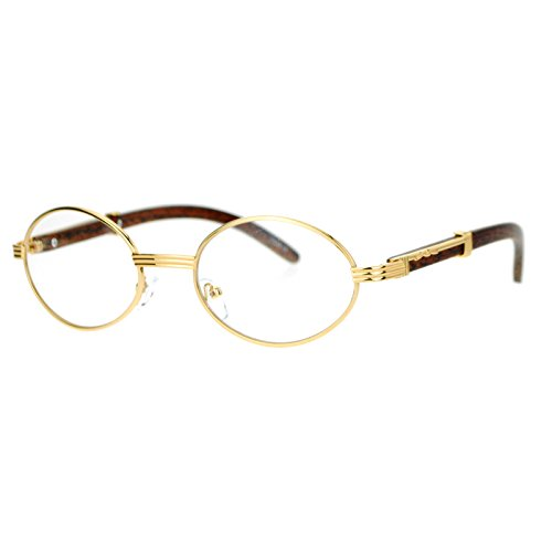 Vintage Wood Buffs Eyeglasses Oval Frame Clear Lens Glasses UV400 Yellow - Glasses Vintage Gold