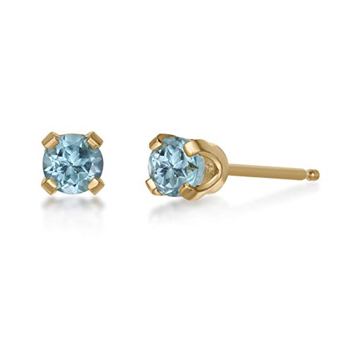 - .20 CT Round 3MM Blue Topaz 14K Yellow Gold Stud Birthstone Earrings