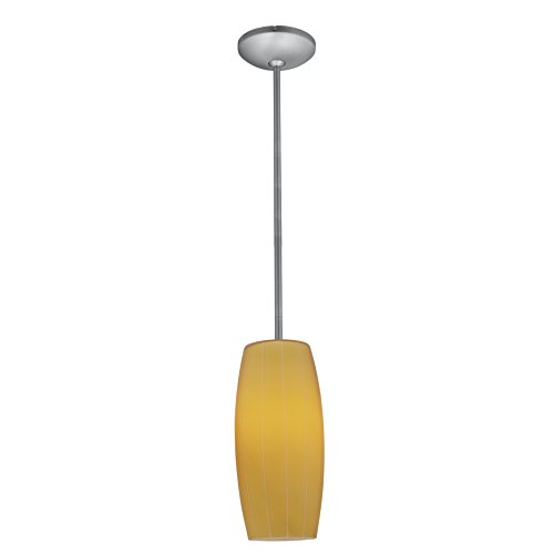 Access Lighting 28070-4R-BS/AMB Cognac Designated LED Rod Pendant with Amber Glass Shade, Brushed Steel