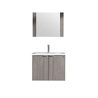 WONLINE Modern Bathroom Vanity, Wall Mounted Cabinet Wood with Resin Sink, Mirror