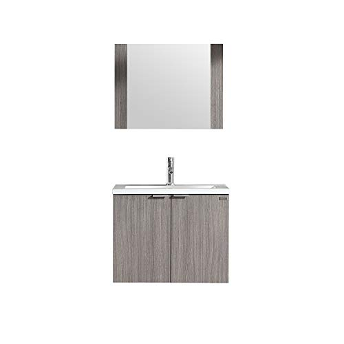 WONLINE Modern Bathroom Vanity, Wall Mounted Cabinet Wood with Ceramic Sink, Mirror