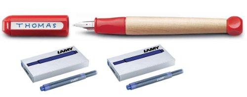 Lamy Schreiblernfüller A rot, abc incl. 2 Päckchen Ersatz Tinten Patronen in blau