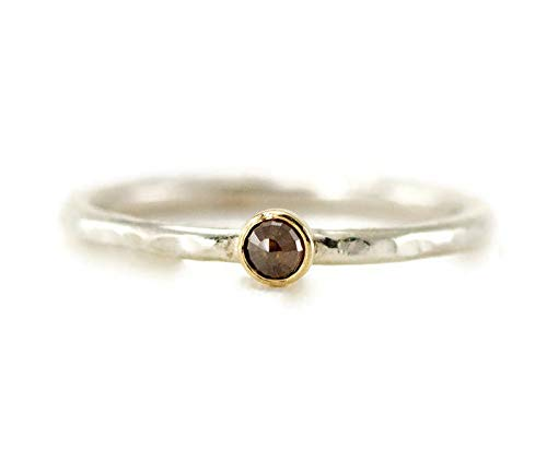 18k Gold and Sterling Rose Cut Diamond Ring - Brown Raw Diamond Stack Ring