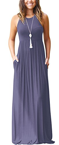 GRECERELLE Women's Sleeveless Racerback and Long Sleeve Loose Plain Maxi Dresses Casual Long Dresses with Pockets Purple (Best Pack For Women)