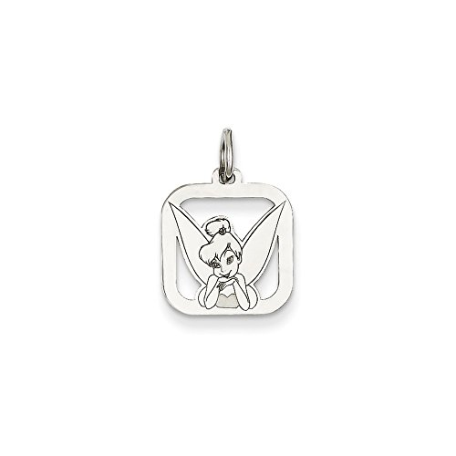 Roy Rose Jewelry Sterling Silver Tinker Bell Square Charm Necklace Complete with Chain Trademark and Licensed