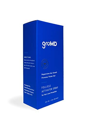 GroMD Follicle Activator Spray, Minimize Thinning & Prevent Hair Loss, Doctor-Developed Proprietary Blend of DHT Blockers, Copper Peptides, Saw Palmetto, Caffeine & Argan Oil, For Men & Women by GroMD