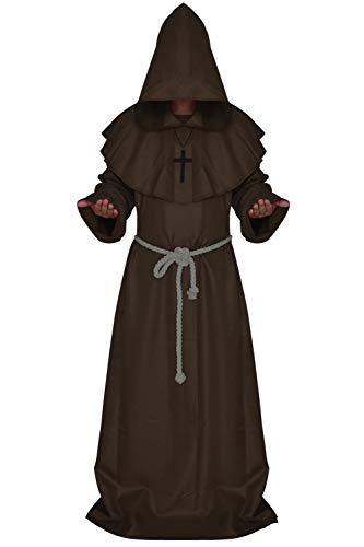 Medieval Monk Robe Cosplay Halloween Hooded Cape Costume Cloak (XX-Large, Coffee) -