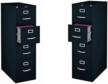 Value Pack Set of 2 4 Drawer Letter File Cabinet in Black