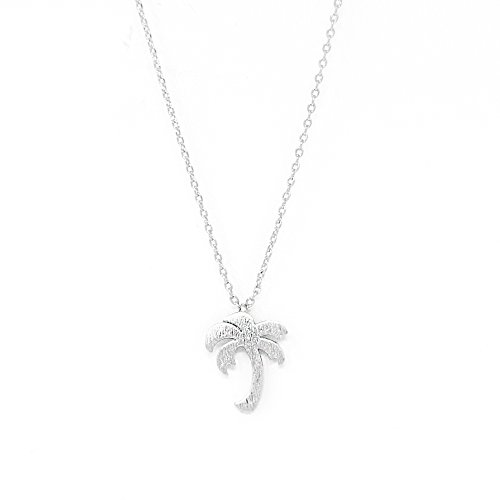 Tree Silver Palm Necklace - Me Plus Palm Tree Small Charm Necklace Tiny Cute Pendant with Adjustable Clasp (Silver)
