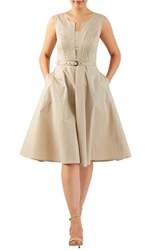 eShakti Women's Split front belted stretch poplin dress M-10 Regular (Sleeveless Stretch Poplin Dress)