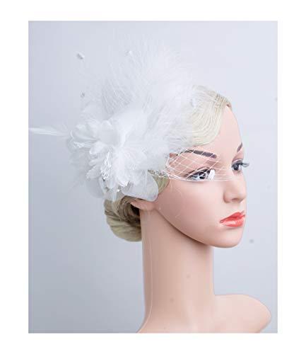 Cizoe Women's Fascinators Hat Hair Clip Feather Wedding Headware Bridal 1920s Headpiece(A-White) -