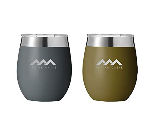 Alpine Oasis Metal 8oz Outdoor Wine Glasses w/Lids (Set of 2), Double Wall Vacuum Sealed Wine Tumblers - BPA Free, Travel, Camping or Home, Unbreakable, Lightweight, - Set Tumbler Oasis