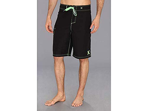 Hurley Black Shorts - Hurley Men's One and Only 22 Inch Boardshort, Black/Neon Green, 33