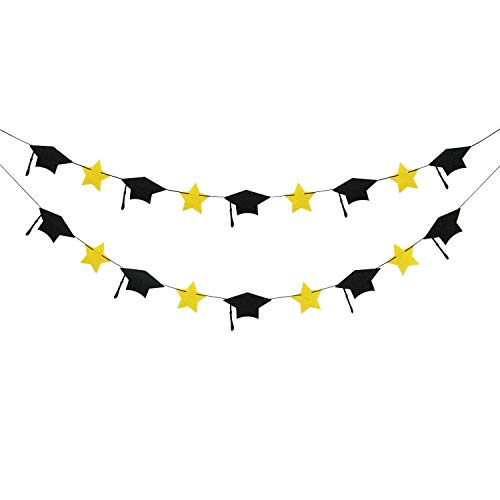 2019 Graduation Party Decorations - Felt Grad Caps Banner Garland - NO DIY - Graduation Party Supplies 2019 (Black Yellow Graduation Caps) -
