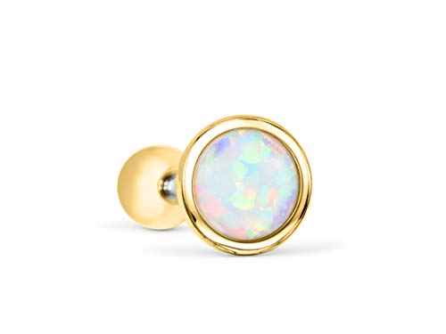 ONDAISY 14k Gold Plated Half Round Ball Circle Gemstone Created Blue Opal Ear Barbell Ball Stud Earring Piercing