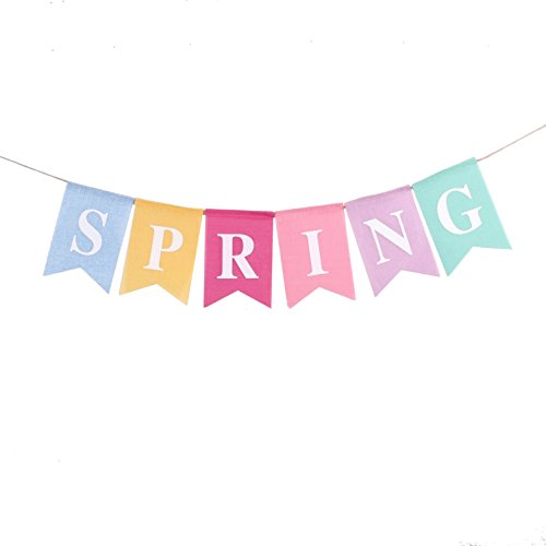 Junxia Spring Linen Hessian Bunting Banner Celebrating the Arrival of (Spring Decorations)