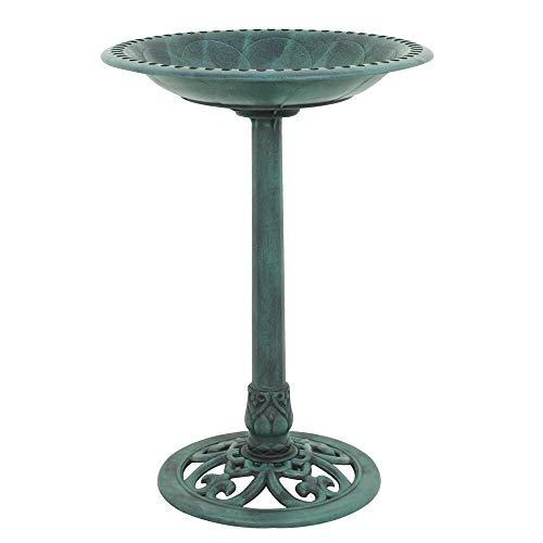 (SPP12 Luxury Green Pedestal Resin Verdigris Bird Bath Garden Decorative Assembled Bird Feeder Outdoor Size Overall Diameter 20 x High 28.18 Inch Style Vintage 1 Pcs)