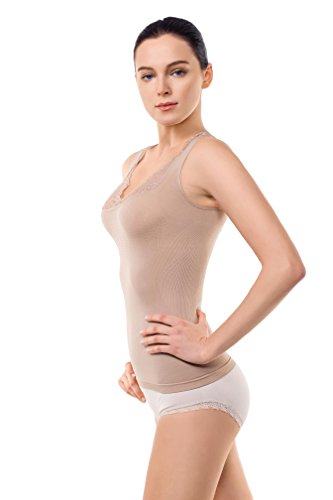Body Shaping Support (MD Shapewear Cami Shaper Workout Tank Tops For Women Shaping Camisole Large Dark Nude)