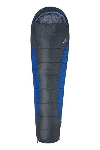 Mountain Warehouse Summit 250 Sleeping Bag - Mummy Shaped Camping Bag Blue Left Handed Zip