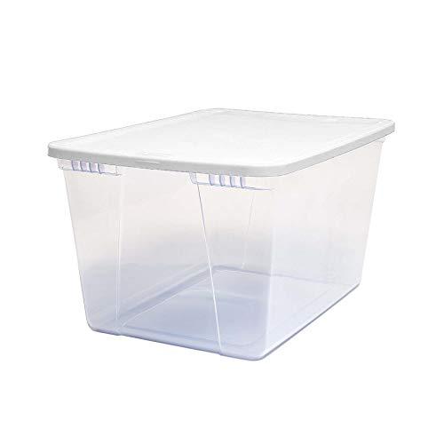 Homz Plastic Storage Bins, Snap Lock White Lids, 56 Quart, C