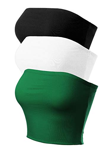 - MixMatchy Women's Causal Strapless Cute Basic Solid Cotton Tube Top 3PACK - Black/White/Green L