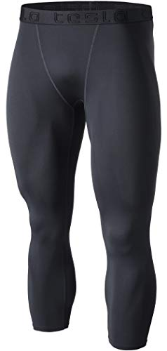 TSLA Men's Compression 3/4 Capri Pants Baselayer Cool Dry Sports Running Yoga Tights, Basic(muc08) - Charcoal, Large