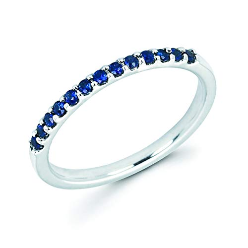 14K White Gold 1/4 Cttw Genuine Blue Sapphire Stackable 2MM Wedding Anniversary Band Ring - September Birthstone, Size 7 ()