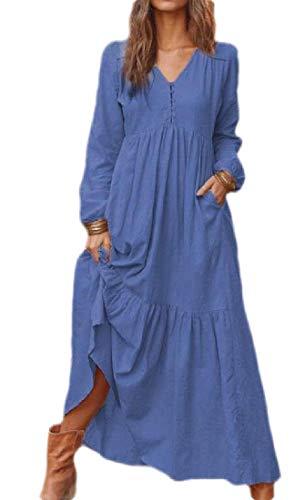 Joe Wenko Women Swing Long-Sleeve Fall/Winter Casual V-Neck Solid Dress Dark Blue XL